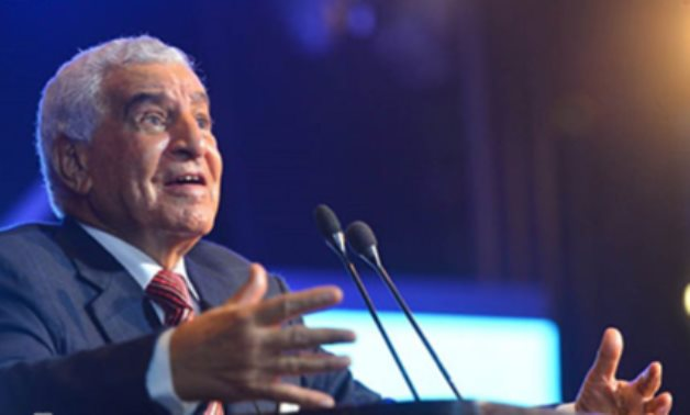 Renowned Egyptian archaeologist Zahi Hawass giving a speech in the presence of Egypt's Minister of State for Youth & Sports