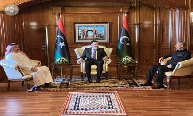 Libya's Prime Minister of the GNA Fayez al-Sarraj meets with defense ministers of Turkey, Hulusi Akar, and Qatar, Khalid bin Mohammad Al-Attiyah, in Tripoli, Libya August 17, 2020. Reuters