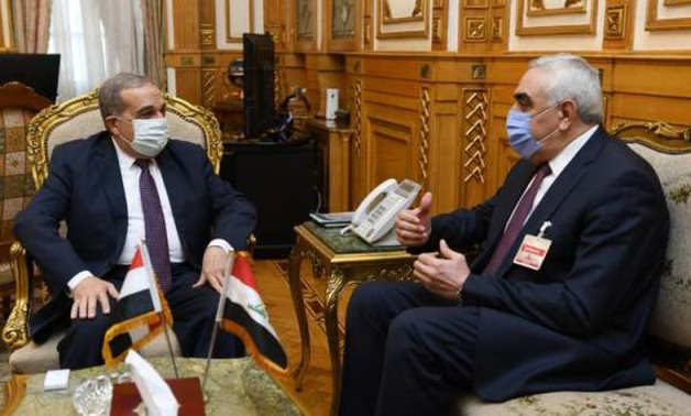 Minister of State for Military Production Mohamed Ahmed Morsi (l) and Iraq Ambassador to Egypt Ahmed Nayef al-Dleimy in a meeting on August 25, 2020. Press Photo