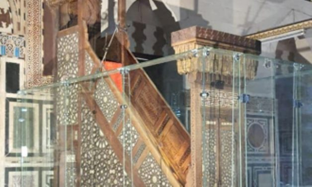 The protection screen was placed around the pulpit of the ancient Abu al-'Ila Mosque - Photo via Egypt's Min. of Tourism & Antiquities