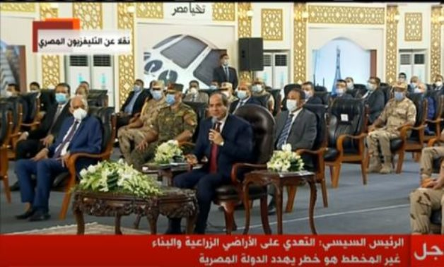 President Abdel Fatah al-Sisi inaugurating national projects in Alexandria via video-conference on August 29, 2020. TV screenshot