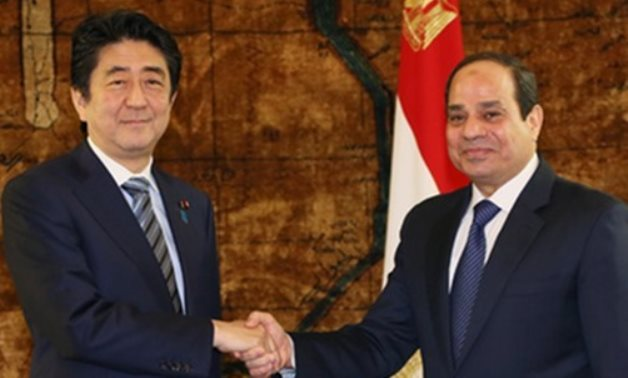Sisi and Shinzo Abe in Cairo in 2015 - Press photo