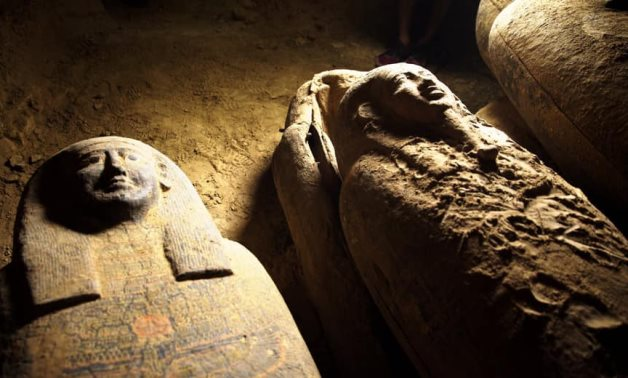 File: The newly uncovered coffins.