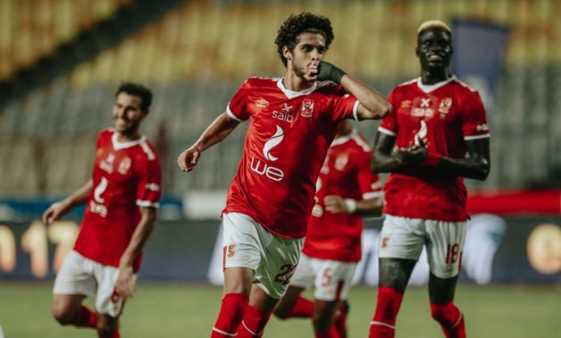 Al Ahly players celebrate scoring, courtesy of Al Ahly Twitter