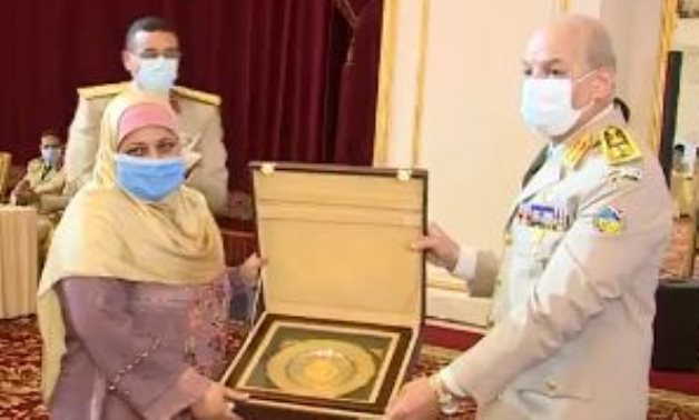 Safia Abou El Azm known as 'train lady' honored by Minister of Defense and Military Production Mohamed Zaki – Facebook official account of the Egyptian Armed Forces spokesperson