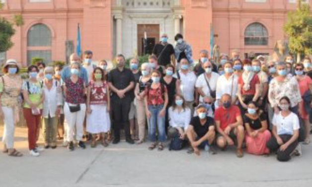 The French tourist group enjoyed a tour in the Egyptian Museum in Tahrir - ET