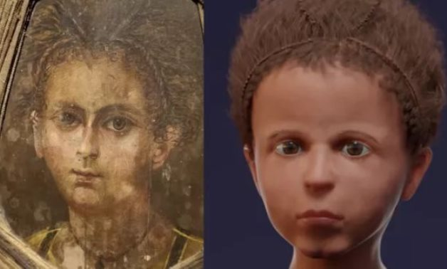 A mummy image of an ancient Egyptian boy next to a 3D facial reconstruction - ET
