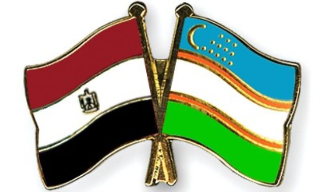 Egypt and Uzbekistan flag pins - FILE