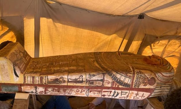 One of the newly discovered coffins in Saqqara - photo via Egypt's Min. of Tourism & Antiquities