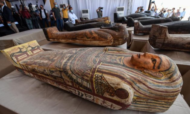 Part of the coffins recently discovered in Saqqara, Egypt - photo via Egypt's Min. of Tourism & Antiquities