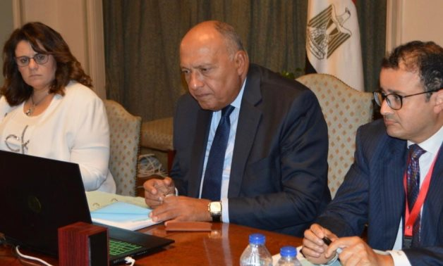 Egyptian Foreign Minister Sameh Shoukry (C) participates in the AU Executive Council meetings- press photo