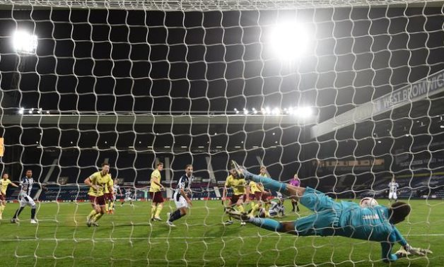 Burnley's Nick Pope makes a save, Reuters