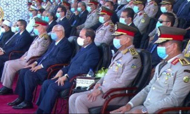 President Abdel Fatah al-Sisi attending the commencement of Class 2020 of the Military Academy, and other military schools and colleges on October 20, 2020. TV screenshot