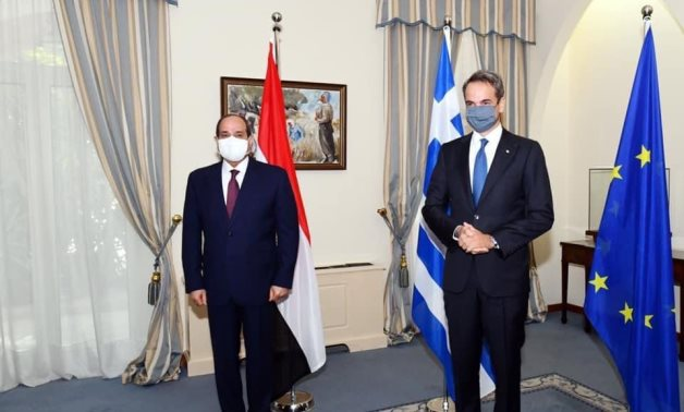 President Abdel Fatah al-Sisi and Greek Prime Minister Kyriakos Mitsotakis in a meeting in the Cypriot capital prior to the Tripartite Cooperation Mechanism Summit on October 21, 2020. Press photo