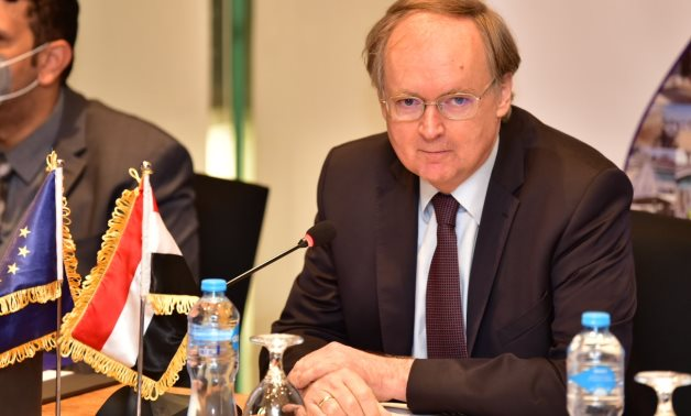 Head of the EU mission to Egypt, Christian Berger, in a meeting with reporters in Cairo on Wednesday, on the sidelines of Cairo Water Week- press photo