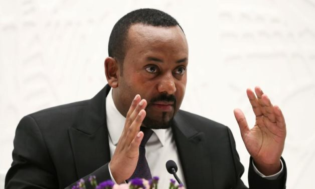 Ethiopia's Prime Minister Abiy Ahmed speaks at a news conference at his office in Addis Ababa, Ethiopia August 1, 2019. REUTERS/Tiksa Negeri
