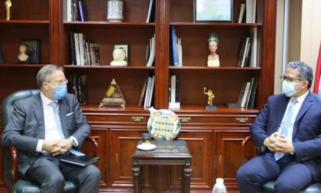 Egypt's Min. of Tourism & Antiquities (R) convenes with new Danish Ambassador to Egypt - Photo via Egypt's Min. of Tourism & Antiquities