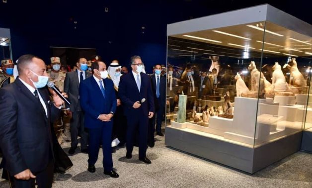 President Abdel Fattah El-Sisi, Khaled el Enany, and Mostafa Waziri during the opening of one of the museums on Saturday - Press  photo