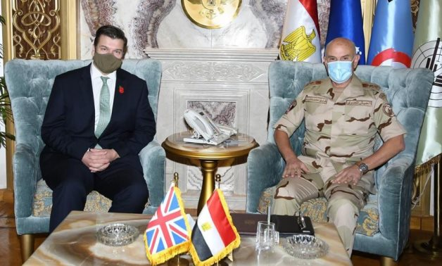 UK Parliamentary Under Secretary of State James Heappey and Chief of Staff Mohamed Farid in Cairo on November 3, 2020. Press Photo