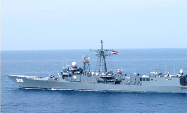 Egypt's Taba frigate carrying out joint drills with a French frigate in the Mediterranean in November 2020. Press Photo