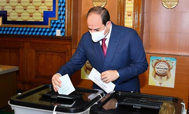 : Egyptian President Abdel Fattah El SIsi cast his vote in the 2020 House of Representatives election at a polling station in Heliopolis- press photo