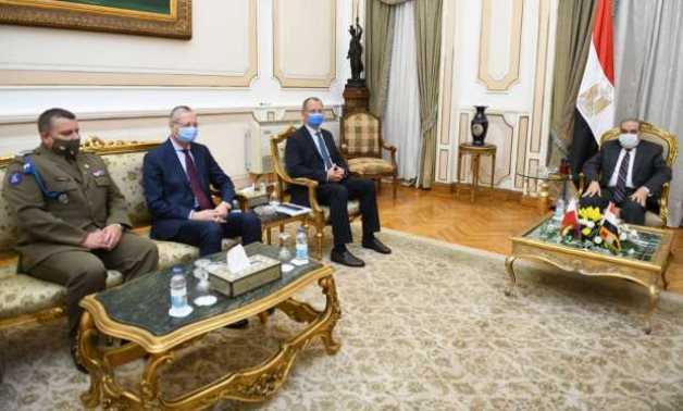 Meeting of State Minister for Military Production Mohamed Ahmed Morsi and Polish ambassador to Cairo on November 10, 2020. Press Photo