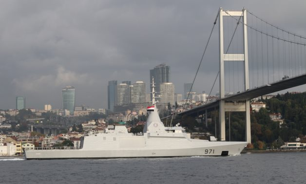 Egyptian Navy corvette El Fateh sails in the Bosphorus on her way to the Black Sea in Istanbul, Turkey November 15, 2020. REUTERS/Yoruk Isik