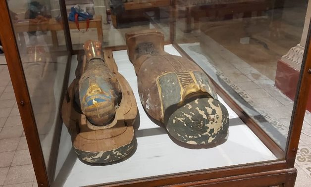 The two recently discovered Saqqara sarcophagi exhibited in the Egyptian Museum in Tahrir - ET