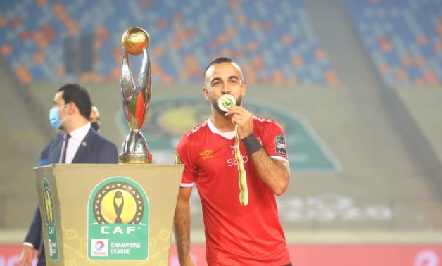 Mohamed Magdy Afsha celebrates after the match