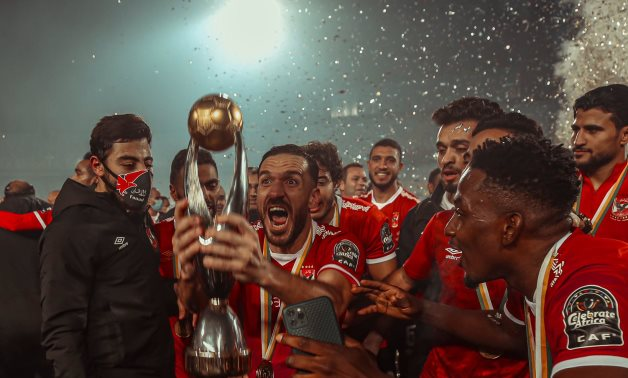 Al Ahly players celebrate the victory, Courtesy of Al Ahly twitter account