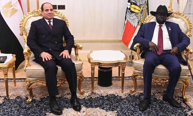 President Abdel Fatah al-Sisi and his South Sudanese counterpart Salva Kiir in a meeting in Juba on November 28, 2020. Press Photo