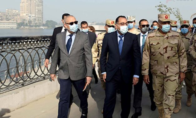 """Egyptian Prime Minister Mustafa Madbouli made an inspection tour of the under-construction """"Walk of Egypt's People"""" along the Nile Corniche on Thursday- press photo"""