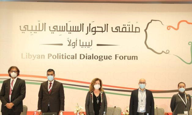 Acting Representative of the Secretary-General for Libya, Stephanie Williams (centre), during the first round of the Libyan Political Dialogue Forum, which was held in Tunis.