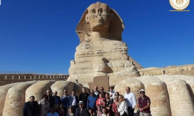 During the visit to the Sphinx - photo via Egypt's Min. of Tourism & Antiquities