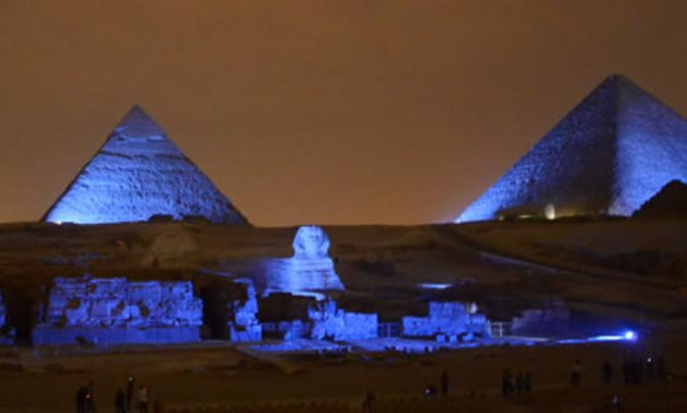 Egypt Turns Pyramids and Sphinx Blue on UN's 70th Anniversary- the photo courtesy of the UN- press photo