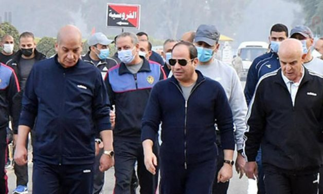 President Abdel Fattah El Sisi visits the Military Academy in Cairo on Saturday- press photo