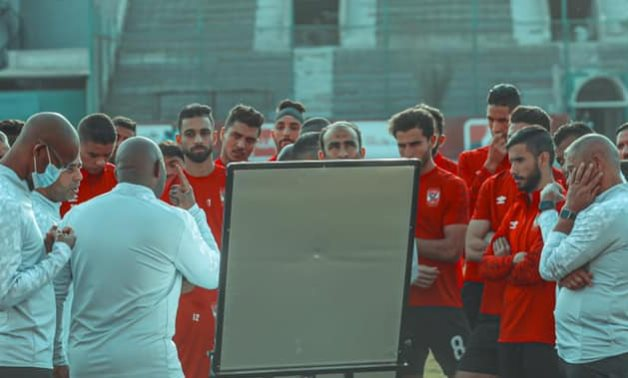 File- Al Ahly players prepare for the natch, courtesy of Al Ahly Twitter