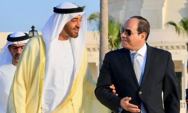 President Abdel Fatah al-Sisi receives Crown Prince of Abu Dhabi and Deputy Supreme Commander of the UAE Armed Forces Sheikh Mohamed Bin Zayed Al Nahyan in Cairo on December 16, 2020. Press Photo