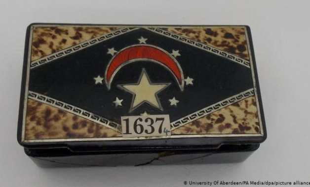The cigar box that hid the Egyptian relic in Aberdeen University for over 7 decades - Photo via Aberdeen University, Scotland