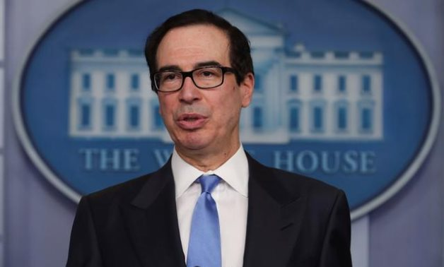 FILE PHOTO: U.S. Treasury Secretary Steven Mnuchin answers questions during the daily coronavirus task force briefing at the White House in Washington, U.S., April 21, 2020. REUTERS/Jonathan Ernst