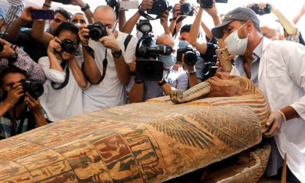 A sarcophagus that is around 2500 years old, is seen inside the newly discovered burial site near Egypt's Saqqara necropolis, in Giza, Egypt, October 3, 2020. Reuters/Mohamed Abd El Ghany.