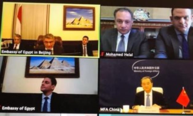 Virtual meeting of Egyptian and Chinese diplomats on GERD talks on December 21, 2020. Press Photo