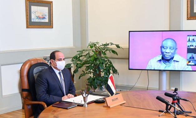 Egyptian President Sisi in a video conference with President of South Africa Cyril Ramaphosa - Presidency