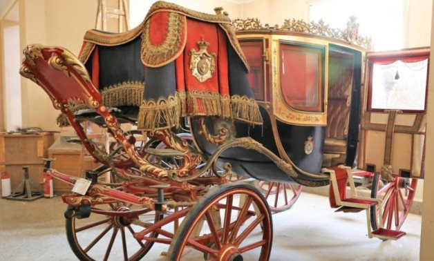 FILE - A royal chariot displayed in Egypt's Royal Chariots Museum