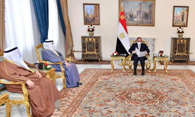 Egyptian President Abdel Fattah El Sisi receives Kuwaiti Foreign Minister Sheikh Ahmad Nasser Al-Sabbah in Cairo on Saturday – Presidency