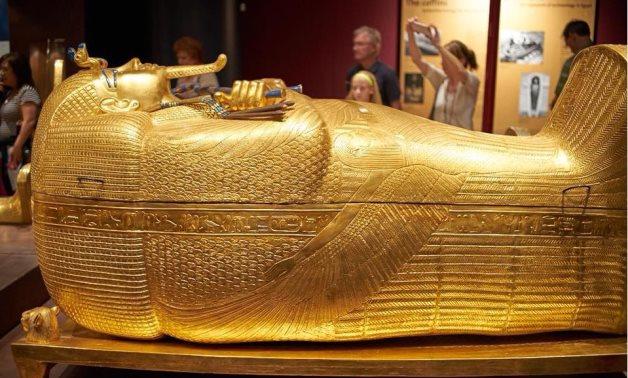 FILE - King Tutankhamun's outer gold-gilded coffin