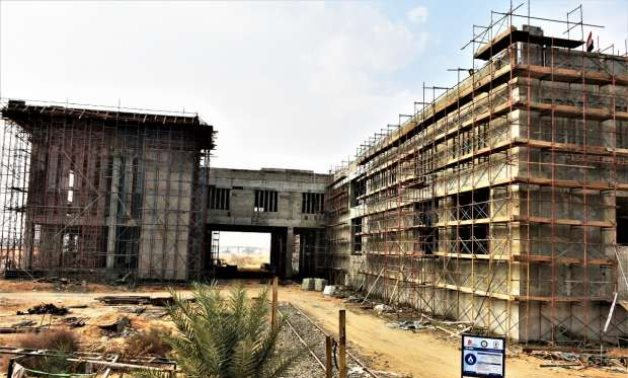 A station that is still under construction within the Salam City/10th of Ramadan City Electric Train project. Press photo shot on January 2, 2021.