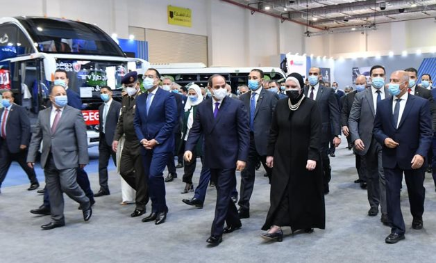 Egypt's President Abdel Fattah El Sisi inaugurates the first exhibition for vehicle conversion to run on compressed natural gas – Presidency