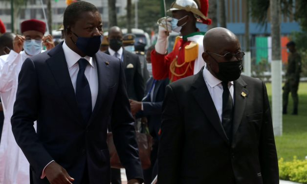 Faure Gnassingbe, President of Togo and Nana Akufo-Addo President of Ghana, arrive for Ivory Coast's President inauguration ceremony in Abidjan, Ivory Coast December 14, 2020. REUTERS/Luc Gnago