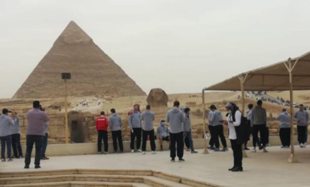 The Swiss Handball Team while visiting the Giza Pyramids - Ministry Of Tourism & Antiquities